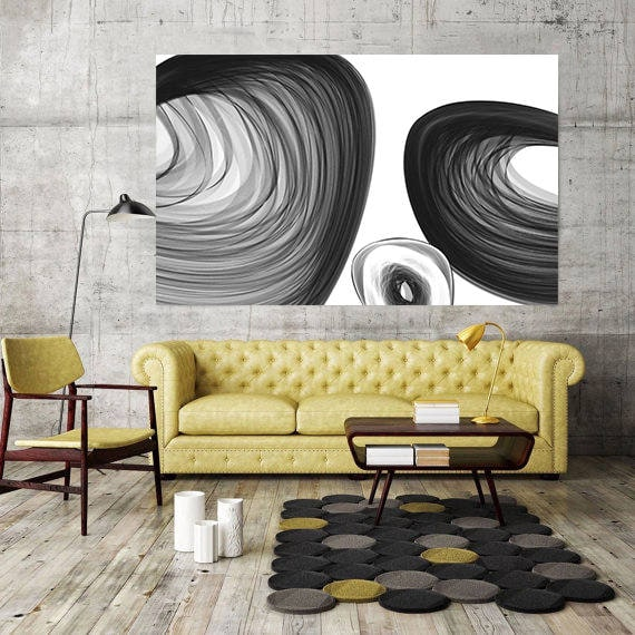 "Abstract Black and White 48-28. Contemporary Black White Abstract Wall Decor, Large Contemporary Canvas Art Print up to 72"" by Irena Orlov"