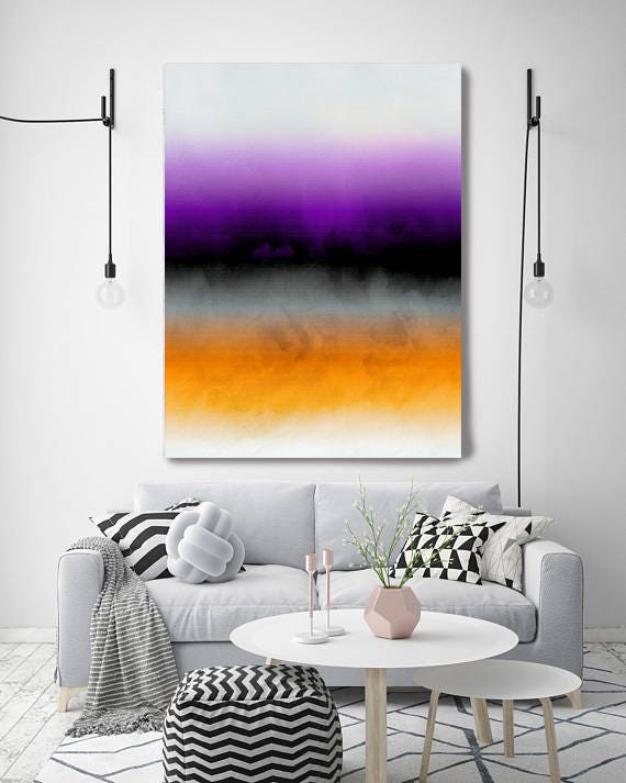"""Inspired by Rothko 23. Ombre, Purple Orange Black Gray Watercolor Abstract, Large Abstract Canvas Art Print up to 72"""" by Irena Orlov"""