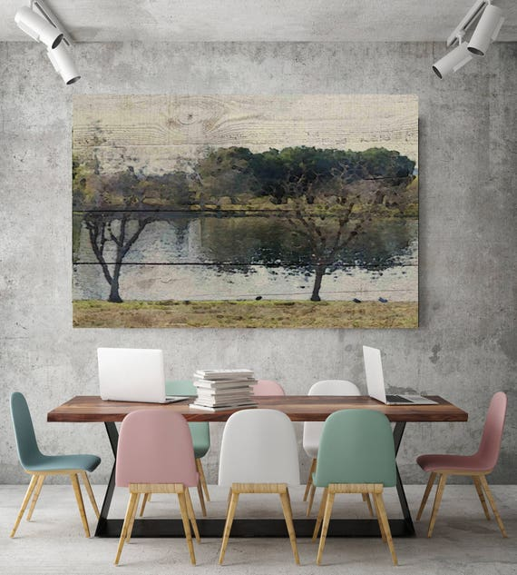 "Left Behind. Scenic, Rustic Landscape Green Canvas Art Print, Trees, Lake on Wood planks Painting Canvas Art Print up to 72"" by Irena Orlov"