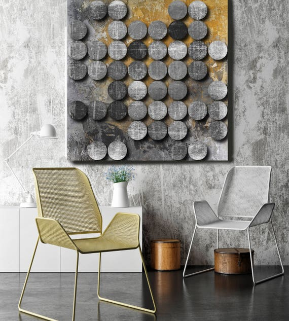 "Concrete Circles. Extra Large Abstract Canvas Art Print, Grey, Yellow, Black Abstract Rustic Wall Art up to 48"" by Irena Orlov"