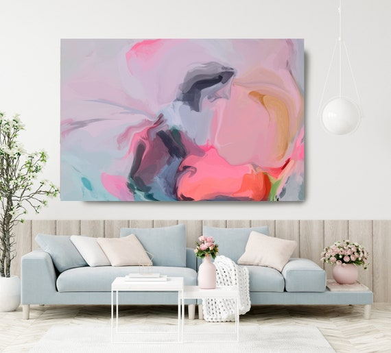 Large ABSTRACT Painting Canvas, Print Canvas Blue Pink Abstract Art, Extra Large Canvas Print, Large ABSTRACT Painting Canvas