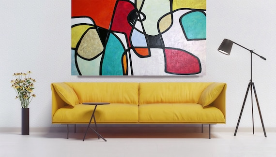 Vibrant Abstract Art, Colorful Abstract Painting, Midcentury Modern Art, Vibrant Wall Art, Vibrant Paintings, Mid Century Oil Painting