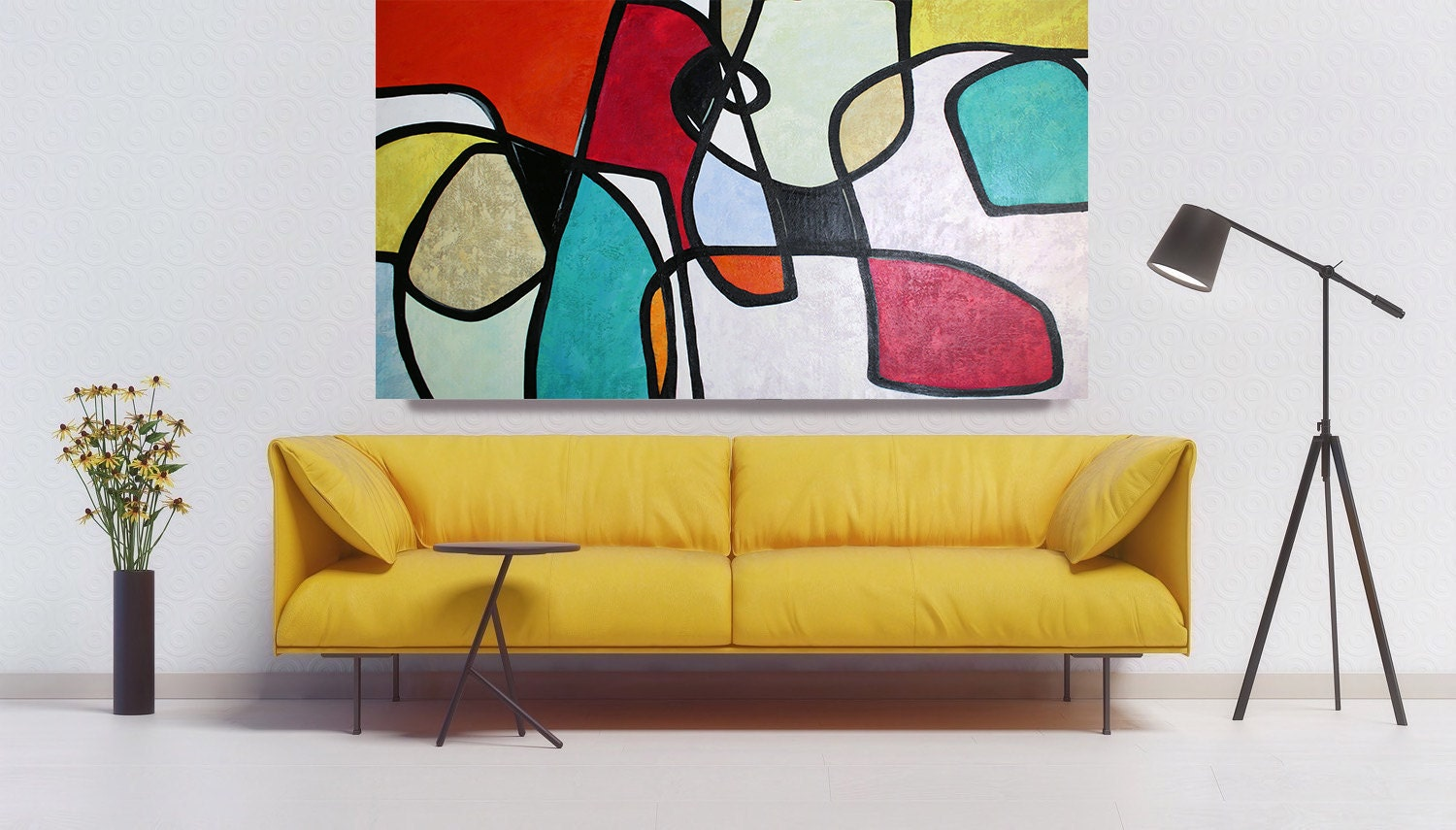 Vibrant Abstract Art, Colorful Abstract Painting, Midcentury Modern ...