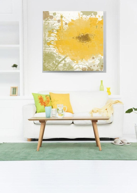 "Modern Yellow. Floral Painting, Yellow Abstract Art, Wall Decor, Abstract Colorful Contemporary Canvas Art Print up to 48"" by Irena Orlov"