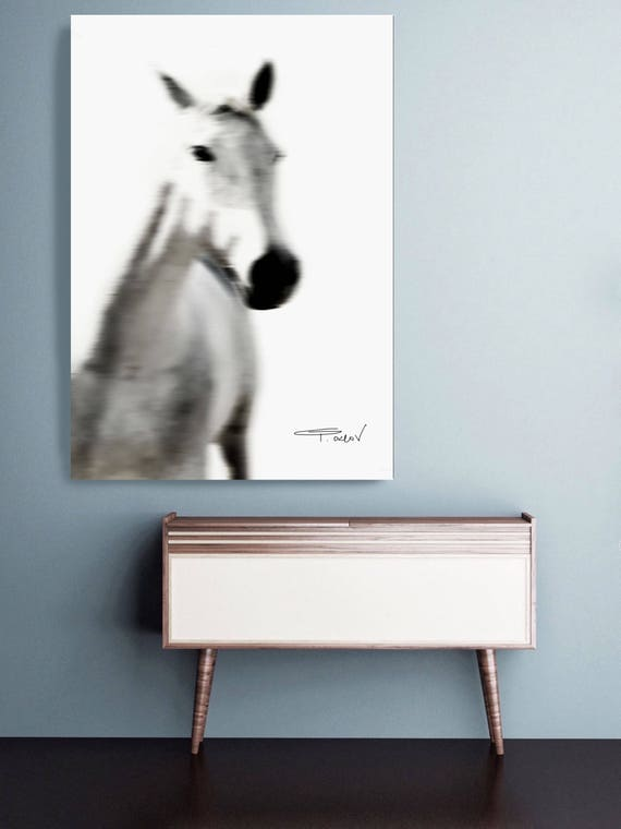 "White Horse 4. Extra Large White Blur Contemporary Horse, Large Contemporary Canvas Art Print up to 72"" by Irena Orlov"