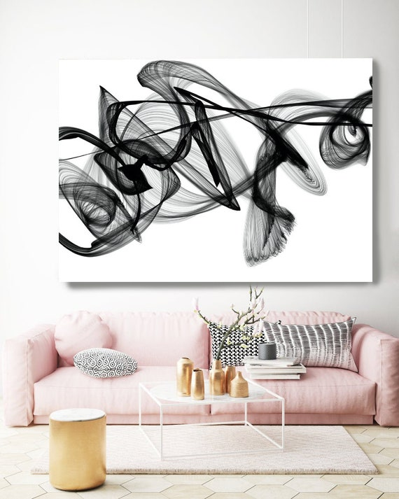 Black and White Wall Art Home Decor Wall Art Black White Abstract Canvas Print Brush Stroke Office Art Large Wall Art, At intervals