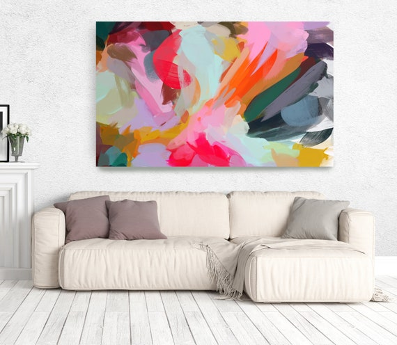 "The Color Movement 9, Abstract Art Canvas Print, Living Room Wall Decor Blue Pink Art, Colorful, Trendy Wall Art up to 80"" by Irena Orlov"