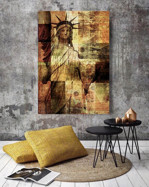 """Statue of Liberty, Large Architectural Cityscape Canvas Art Print. Rustic Brown URBAN Canvas Art Print up to 72"""" by Irena Orlov"""