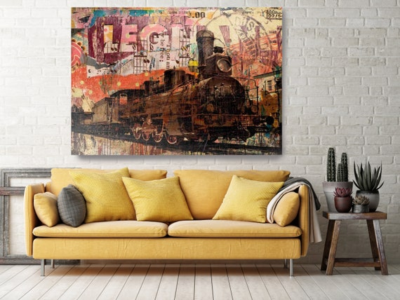 The Old Railway - Urban Wall Art - Transportation Art - Urban Art - Large Abstract Art - Textured Painting - Large Wall Art - Canvas Print