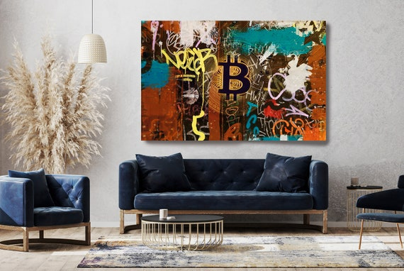 Graffiti Bitcoin Canvas Art, Digital Currency Canvas Print, Cryptocurrencies Print, Cryptocurrency Bitcoin Graffiti, Print on Canvas