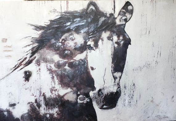"""Gorgeous Horse. Heavy Textured Extra Large Horse Art, Horse Decor, Brown Rustic Horse, Large One of a kind Canvas Art up to 72"""" by Orlov"""