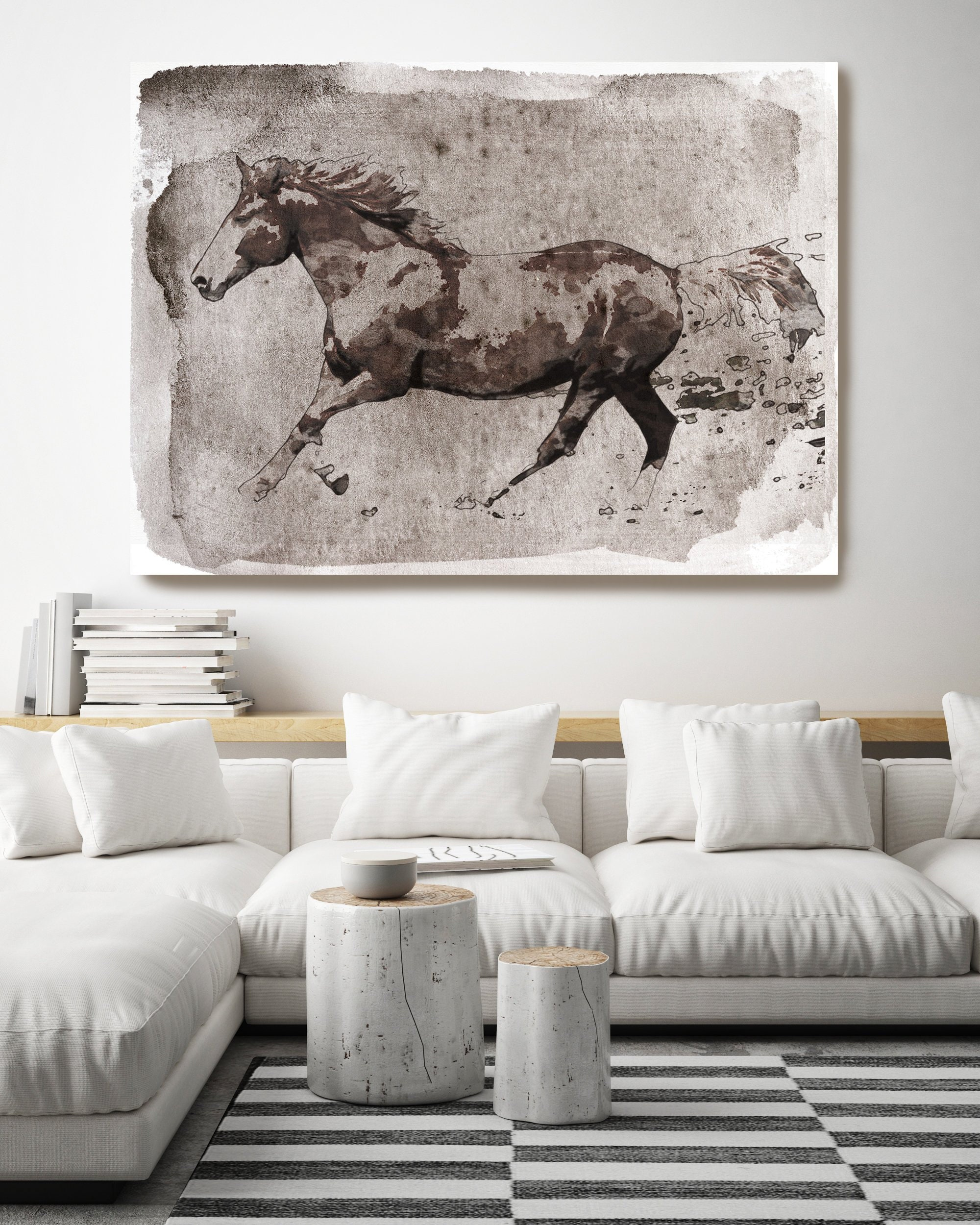Brown Horse Running Horse Painting Art Horse Home Decor Horse Canvas Horse Canvas Art Horse Poster Horse Print Horse Horse Wall Decor