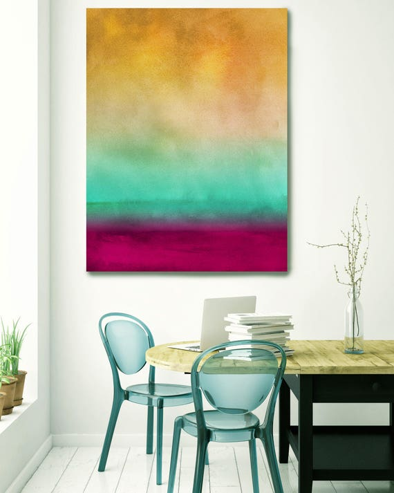 """Inspired by Rothko 4. Watercolor Abstract, Green Red Yellow Watercolor Painting Print Canvas Art Print up to 72"""" by Irena Orlov"""