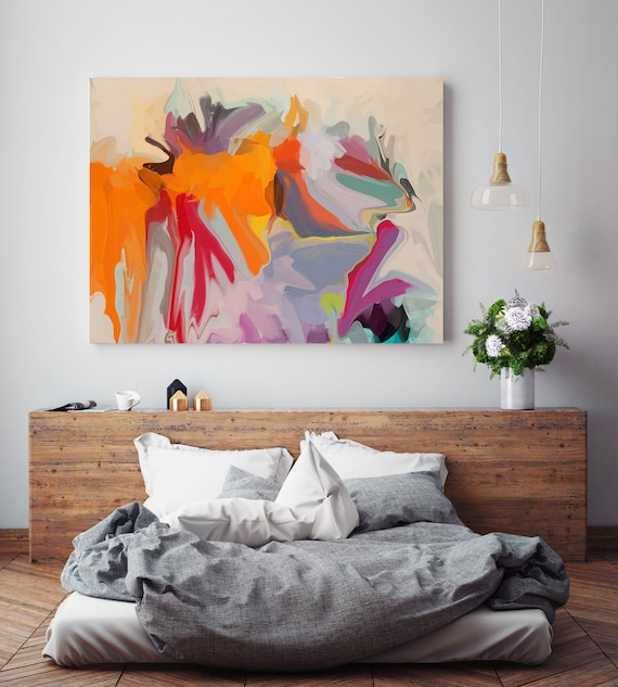 Original Art, Abstract, Canvas Print, Trending Now, Orange Pink Blue Red Painting Extra large Acrylic Painting on Canvas, Spectrum Orange 3,