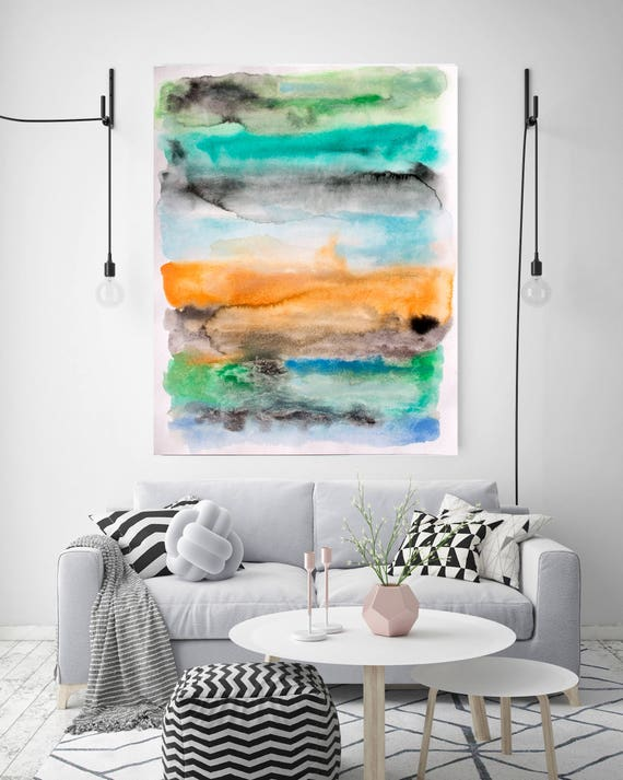 "Across the Bay. Watercolor Abstract Blue Green Yellow Canvas Art Print, Watercolor Painting Print up to 72"" by Irena Orlov"
