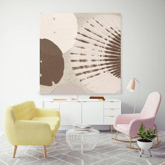 "Modern Scallop-shell II, White Brown Coastal Shell Canvas Art Print up to 48"" by Irena Orlov"
