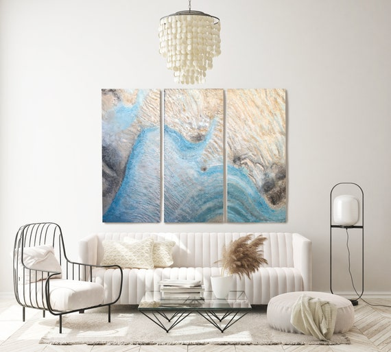 """Coastal Beach Mixed Media Paintings Canvas 72H X 90""""W Triptych-3 piece (3x72x30), Abstract Water Paintings on Canvas, Coastal Painting"""