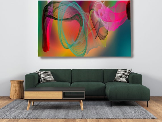 Green Contemporary Wall Art, Colorful Office Decoration Vibrant Wall Art Electric Canvas Print, Home Decor, New Media, Color in the Lines 23