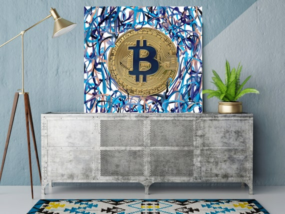 Bitcoin Circles Cryptocurrency Graffiti Canvas Print. Bitcoin Office Decor Cryptocurrency Wall Art, Bitcoin print, crypto BTC Graffiti