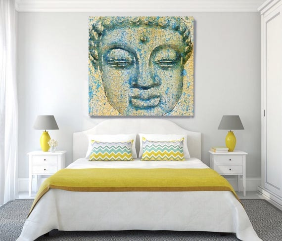 "Buddha, Inner Peace 1. Large Rustic Yellow Blue Buddha Canvas Art Print  up to 48"", Large Rustic Buddha Canvas Art by Irena Orlov"