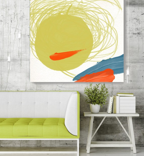 "Happy Mood II -  Green Geometrical Abstract Art, Wall Decor, Large Abstract Colorful Contemporary Canvas Art Print up to 48"" by Irena Orlov"