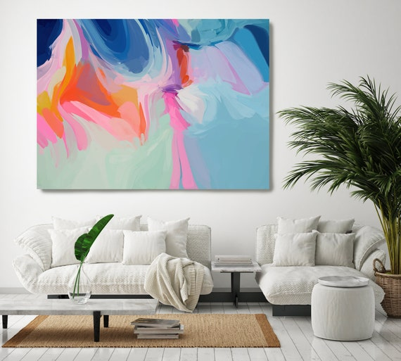 Orange Abstract Painting, Blue Abstract Canvas Print Large Modern Abstract Wall Art, Abstract Painting, Harmony of Nature