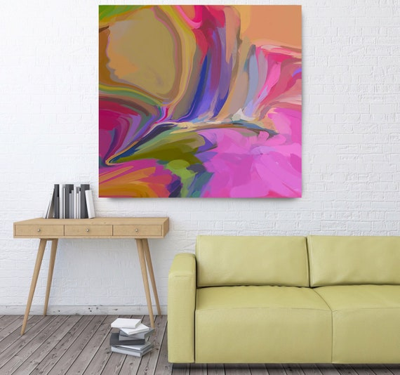 Abstract Painting Abstract Art Contemporary Art Modern Hot Pink Painting Expressionism Painting Canvas Print. Desert Mirage 24