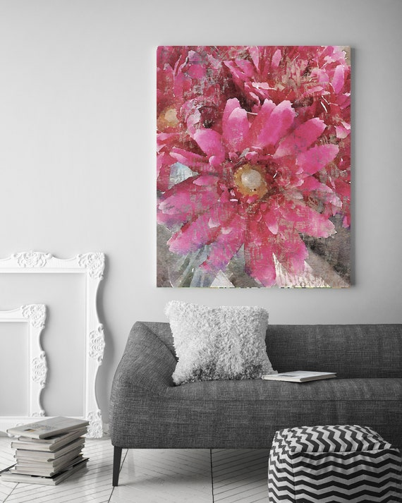 Vibrant Summer 2 Vintage Flower Watercolors Painting Canvas Print Pink Flower Watercolors Painting Canvas Art Print up to 72""