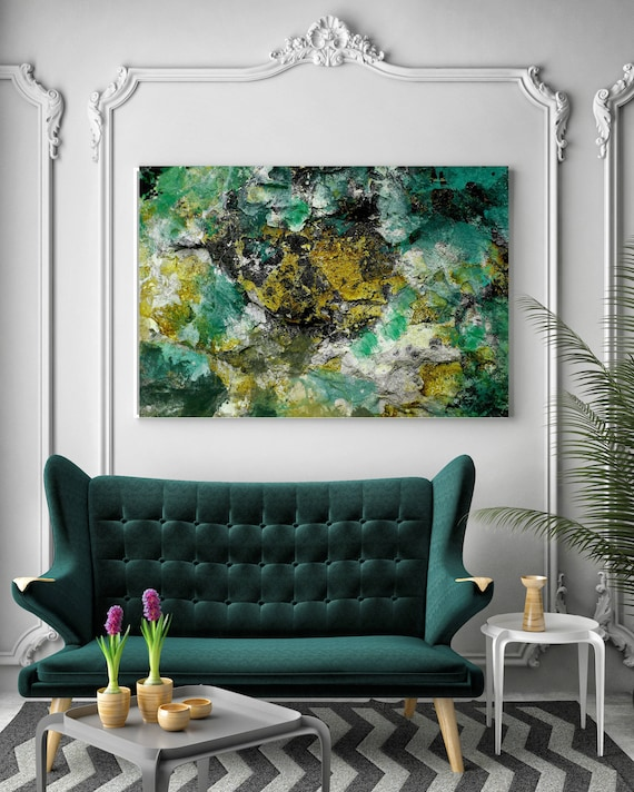 """Aqua Gold Stone. Green Yellow Abstract Art, Wall Decor, Extra Large Abstract Colorful Contemporary Canvas Art Print up to 72"""" by Irena Orlov"""