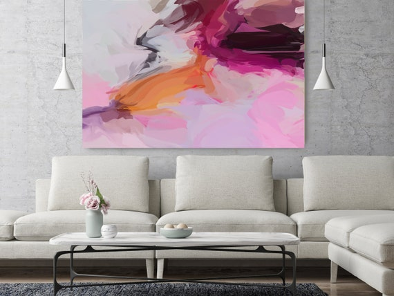 "Life Of My Dreams, Pink Orange Abstract painting Original Acrylic Abstract Art on Canvas, Fine Art Canvas Print up to 80"" by Irena Orlov"