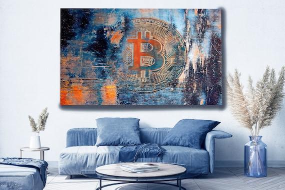 BTC, Bitcoin Canvas Art, Digital Currency Canvas Print, Cryptocurrencies Print, Cryptocurrency Bitcoin Graffiti, Print on Canvas