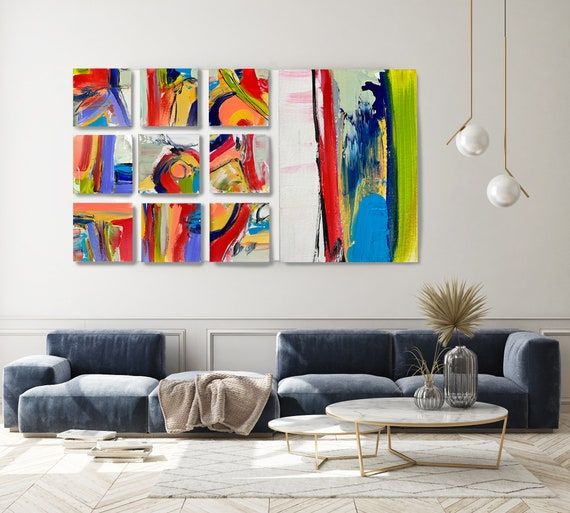 Joyful Modernist Abstraction, Canvas Block Wall Art Abstract Canvas Print -Commercial Art Installation- Vibrant Colorful Set of 10 up to 96""