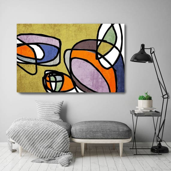Mid Century Modern Canvas Wall Art, Modern Colourful Print, Modern Canvas Painting, Mid Century Modern Art Print,Colorful Abstract Art Print