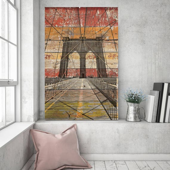 "New York. Brooklyn Bridge. Extra Large Rustic Brooklyn Bridge on Planks Gray Red Beige Canvas Art Print up to 72"" by Irena Orlov"