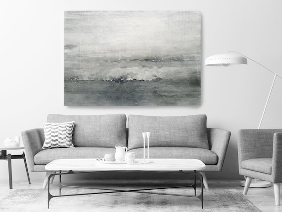 "Wave, Beach Decor, Ocean Wave Print, Coastal Wall Canvas Art, Grey Black & White, Monochrome Art, Sea Canvas Print 80"" by Irena Orlov"