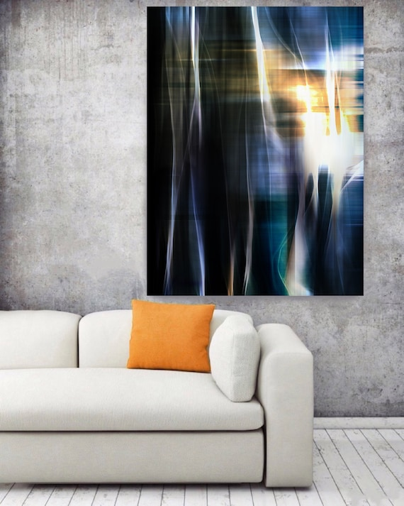 "Mysterious Light 74-1. Large Abstract Canvas Art, Abstract Orange Grey Blue Contemporary Abstract Wall Art Print up to 72"" by Irena Orlov"