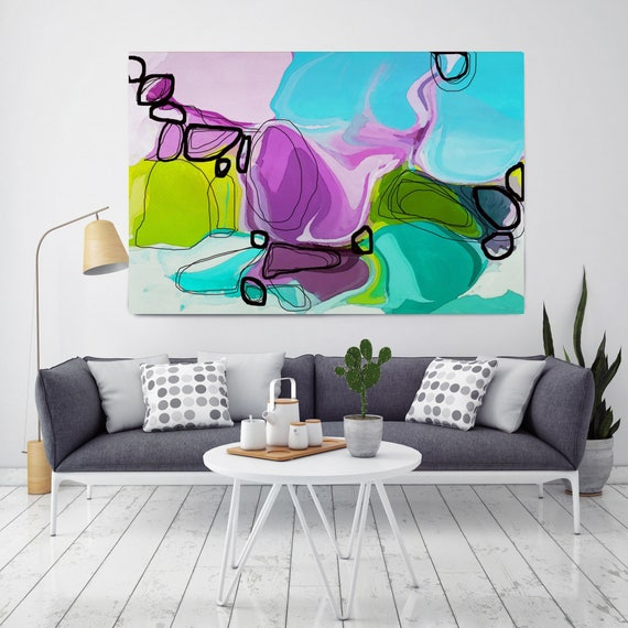 "Attitude. Geometrical Abstract Art, Wall Decor, Extra Large Abstract Blue Purple Green Canvas Art Print up to 72"" by Irena Orlov"