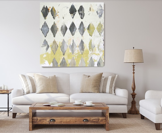 White Field Abstract Painting Canvas Print, Abstract Painting, Oversized Art, Art Paint, White Green Geometric Art
