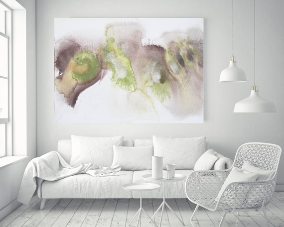 """Olive Green Brown Watercolor abstract splash 2. Watercolor Abstract, Large Abstract Contemporary Canvas Art Print up to 72"""" by Irena Orlov"""