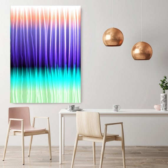 "Mysterious Light 13, Neon Purple Blue Green Lines Contemporary Wall Art, Extra Large New Media Canvas Art Print up to 72"" by Irena Orlov"