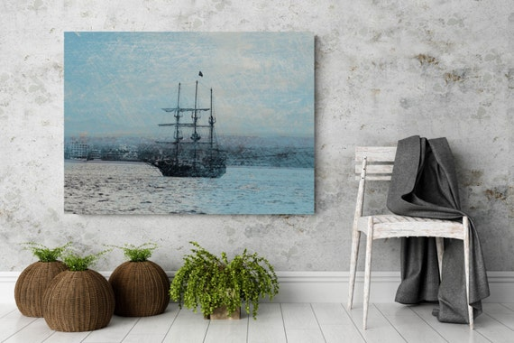 "ORL-7050-1 Ocean Sunset Boat 1, Extra Large Seascape Rustic Blue Boat Canvas Wall Art Print Large Canvas Print up to 60""  Art by Irena Orlov"