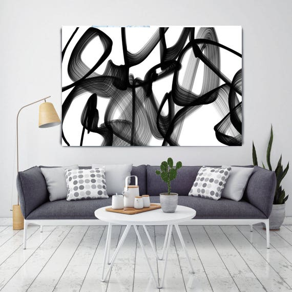 "Abstract Expressionism in Black And White 26, Contemporary Abstract Wall Decor, Large Contemporary Canvas Art Print up to 72"" by Irena Orlov"