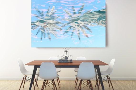 Palms Tropical Art, Blue Palms Canvas Art Print, Coastal Art Beach, California Summer Palm Art, Palms reflection