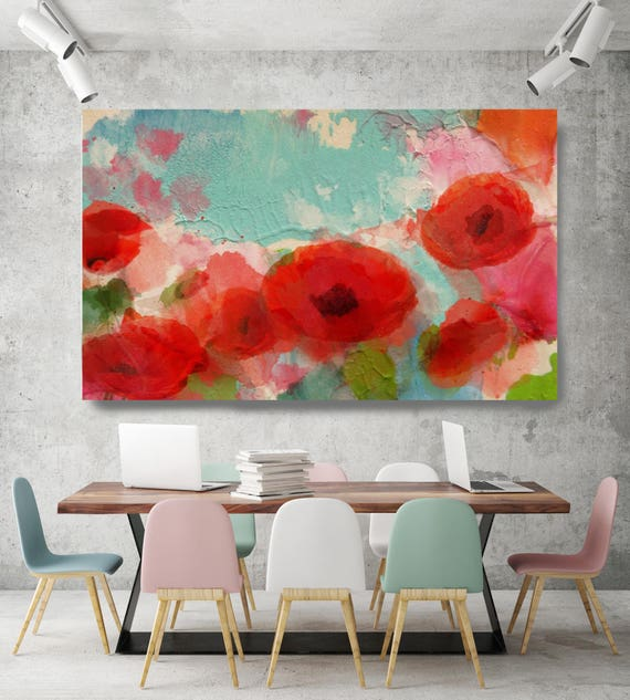 """Fresh Air Poppies. Floral Painting, Blue Red Abstract Art, Large Abstract Red Teal  Canvas Art Print up to 72"""" by Irena Orlov"""