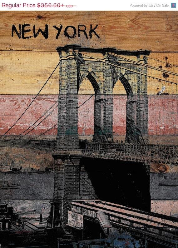 "Old Brooklyn Bridge. Unstretched Canvas Print, Large Architectural Canvas Print Up to 60"" wide, vintage wall decor by Irena Orlov"