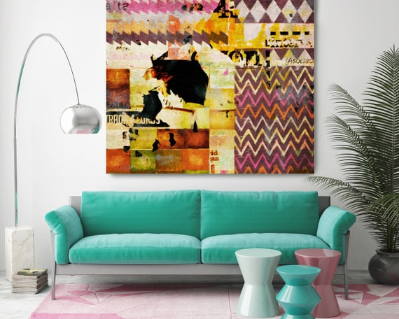 "Canvas N-23.  Extra Large Brown Pink Figurative Canvas Art Print, Mid Century Modern Large Canvas up to 48"" by Irena Orlov"
