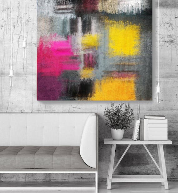 """Abstract Rhythms NO 60. Geometrical Gray Yellow Abstract Art, Large Abstract Colorful Contemporary Canvas Art Print up to 48"""" by Irena Orlov"""