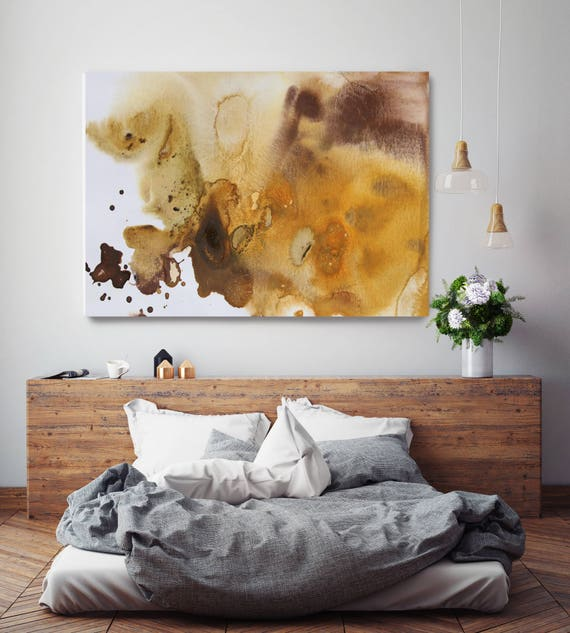 """Watercolor Coastal Abstract 8. Watercolor Abstract Yellow Brown Canvas Print, Extra Large Watercolor Canvas Art up to 72"""" by Irena Orlov"""
