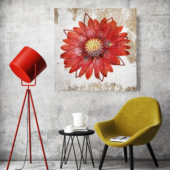 Casablanca. Flowers Painting Red Abstract Painting Canvas Print Abstract Flowers Art Floral Art Flowers Wall Art Red Canvas Print