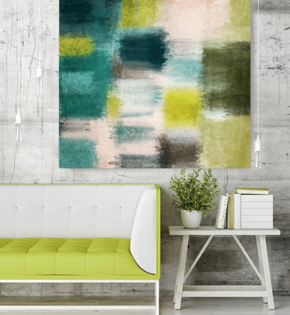 "Spring Vista II. Green Blue Abstract Art, Wall Decor, Large Abstract Colorful Contemporary Canvas Art Print up to 48"" by Irena Orlov"
